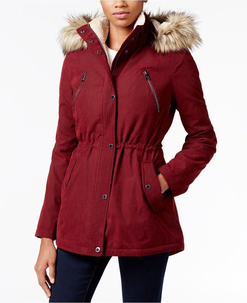 34551e0e1bc2c Nautica Faux-Fur-Trim Hooded Parka - Coats - Women - Macy s ...