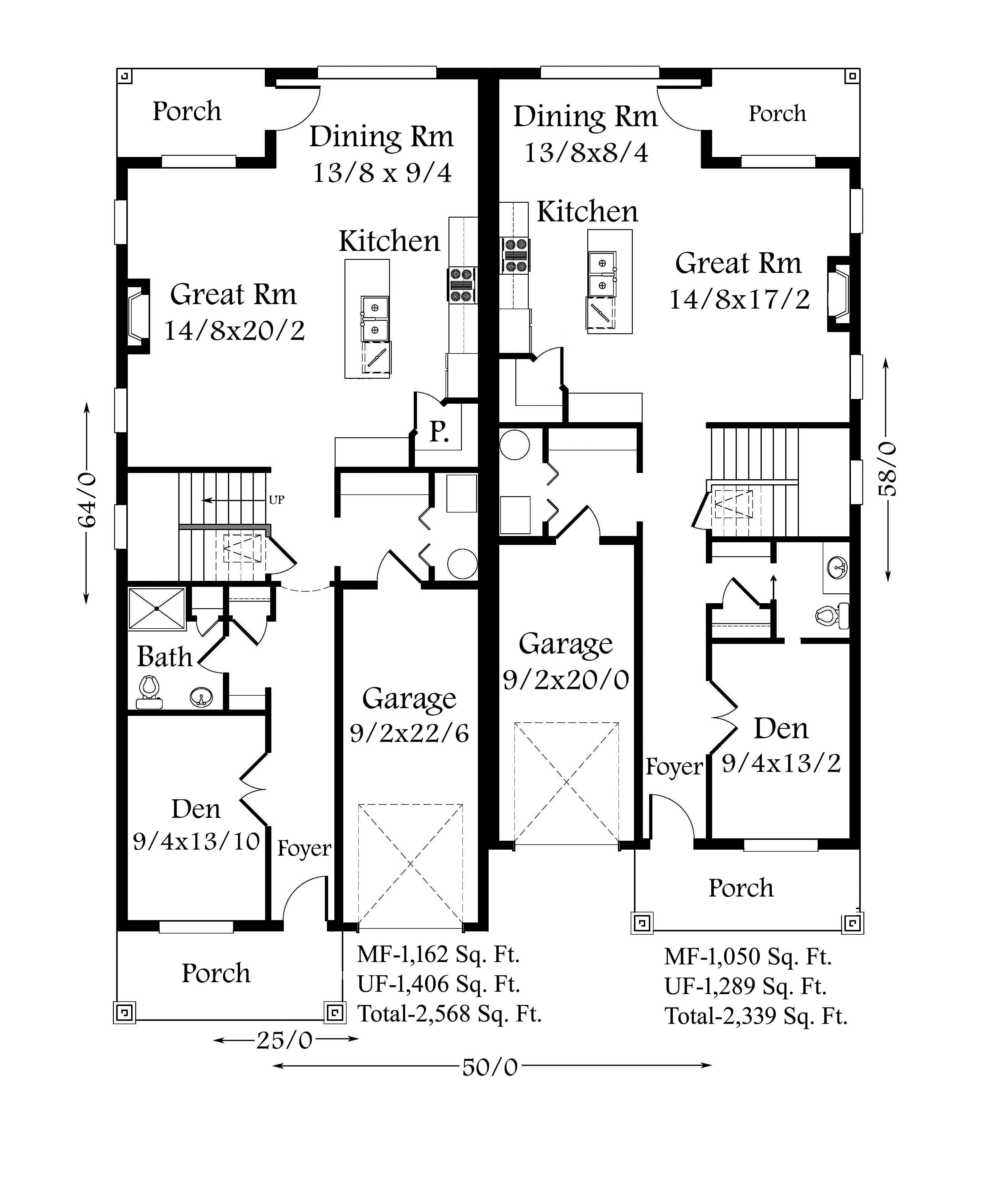 Glenview 1 2 House Plan Skinny Duplex House Plan By Mark Stewart In 2020 Duplex House Plans Duplex Plans Duplex Floor Plans