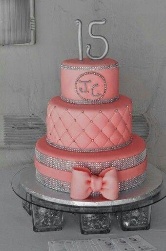 Coral Quinceanera Cake