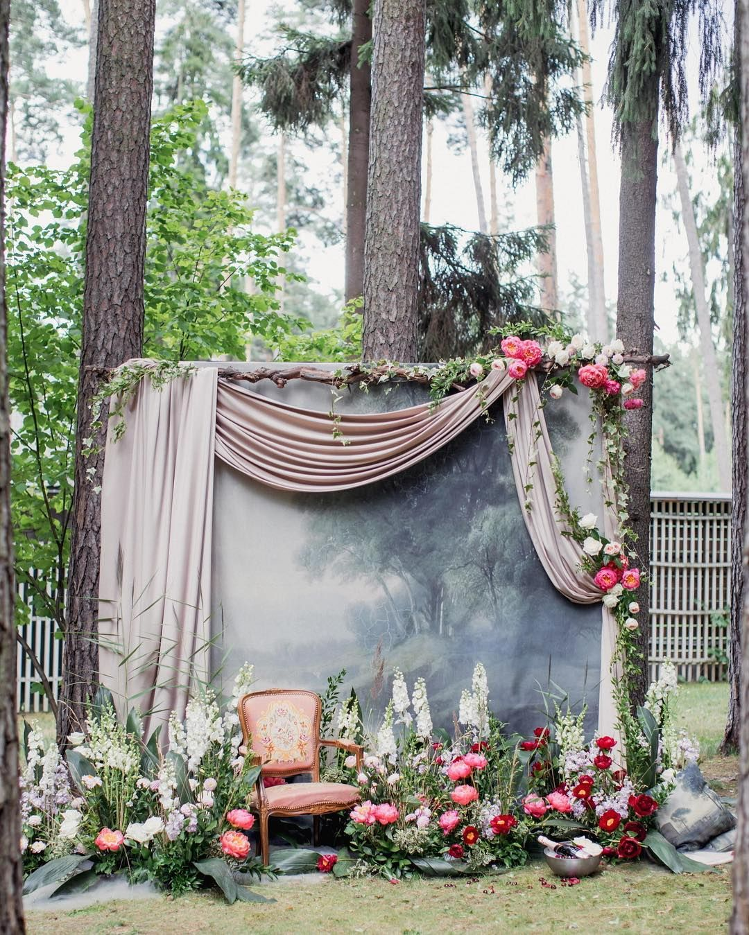 Outdoor Wedding Ceremony Whitby: Draped Ceremony Backdrop With Flowers #weddingceremony