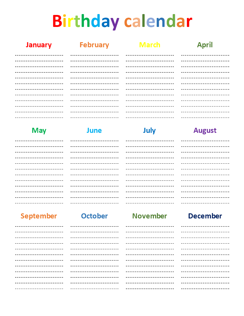 Birthday Calendar Rainbow Color Chart  Download This Free