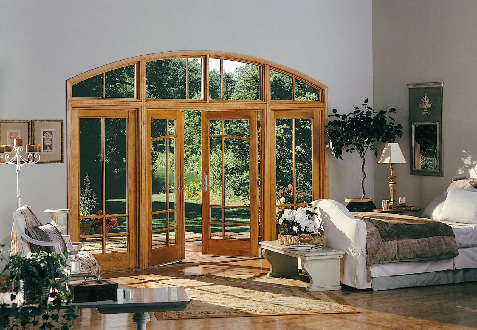 This #Marvin #FrenchDoors with matching full-length windows and ...