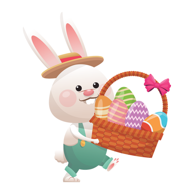 Easter Rabbit With Eggs Basket Vector Png Easter Rabbit Rabbit Png Egg Basket