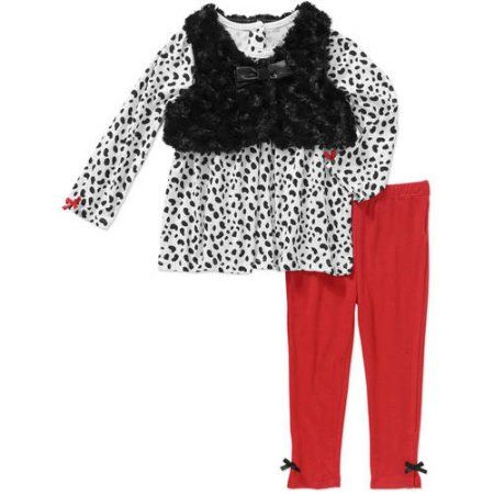 Quiltex Newborn Baby Girl Cheetah Print Top, Legging, and Faux Fur Vest 3 pc Set, Size: 24 Months, Red