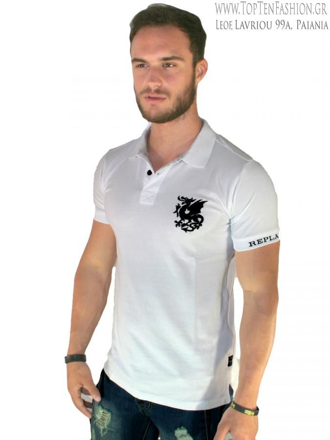 a73d9989b45d REPLAY Slim fit πικέ πόλο μπλούζα