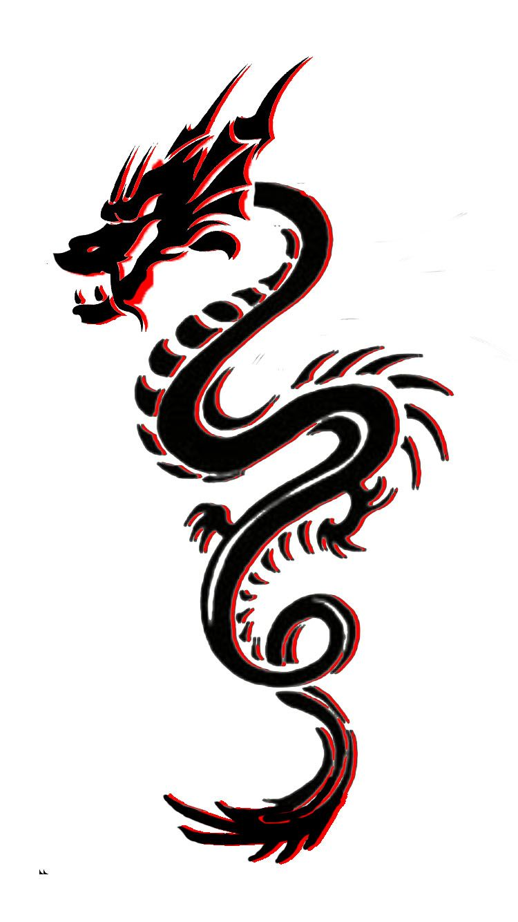 Little Tribal Dragon Tattoo I Designed With Red Outline Black Dragon Tattoo Tribal Dragon Tattoo Dragon Tattoo