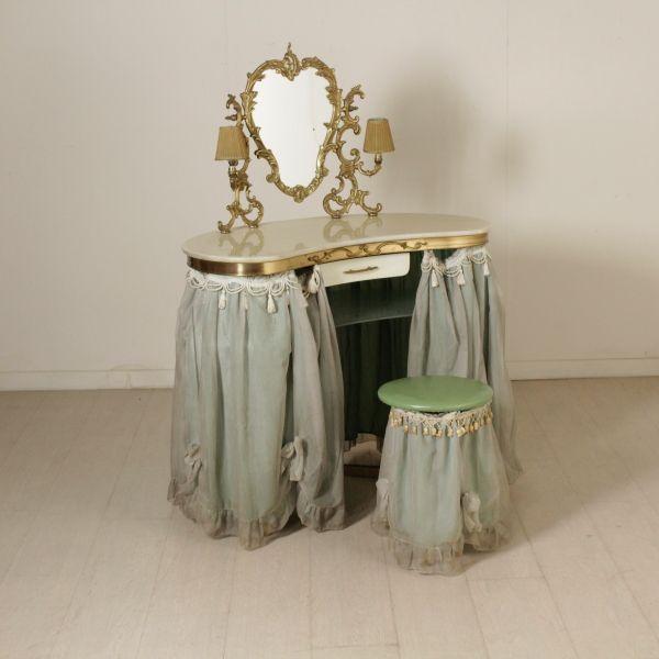 Toilette anni 50 con sgabello e specchio ad inclinazione - Specchio anni 50 ...