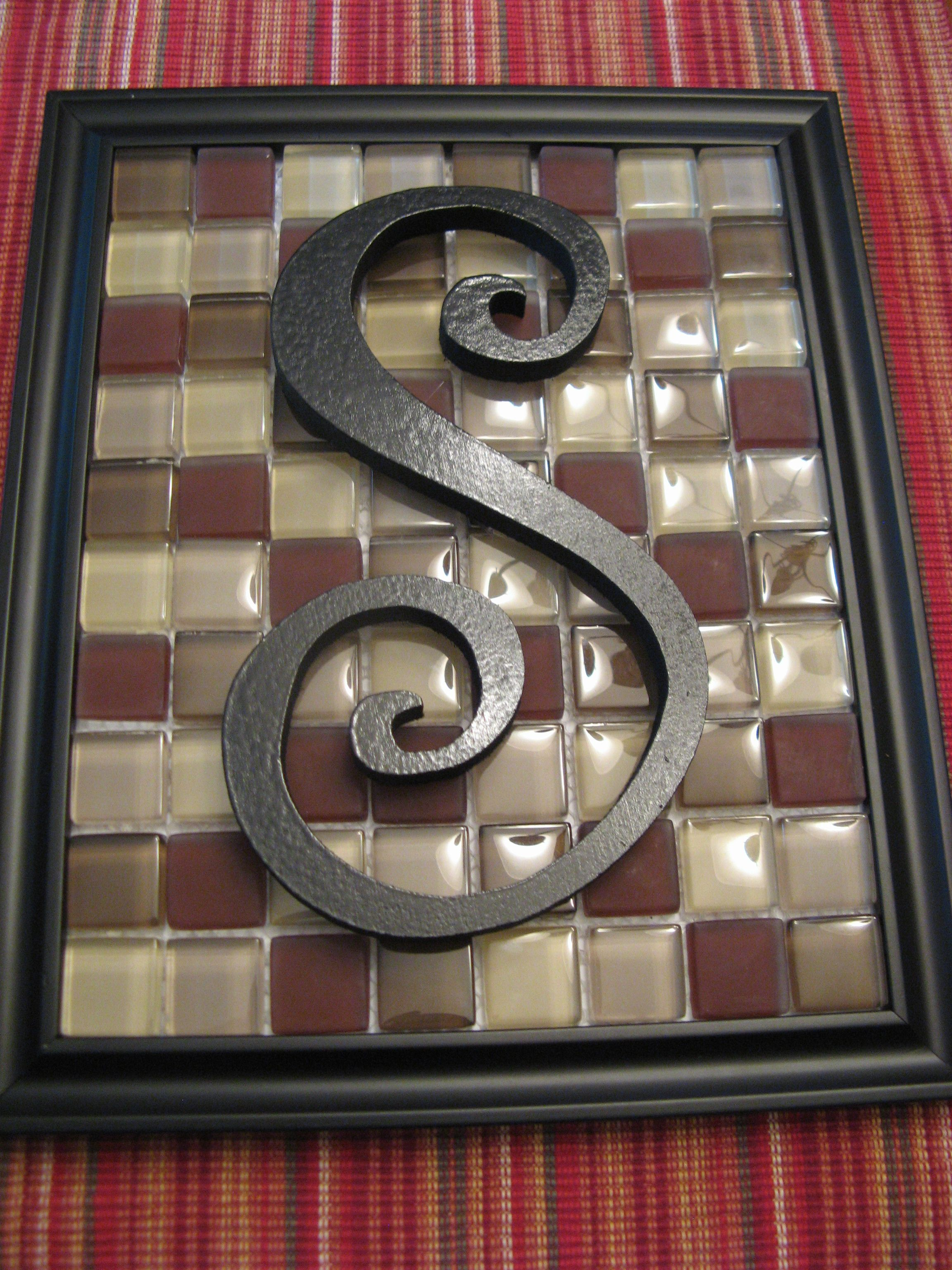frame glass tiles from home depot letter from hobby lobby spray painted
