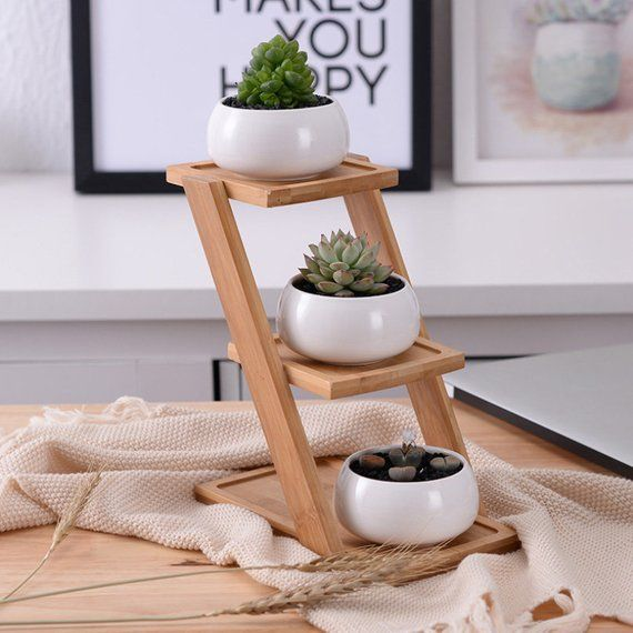 Succulent Planter Ceramic Planter Bamboo Planter Stand Ceramic Pot Mini Planter Airplant holder Home Decor Office Decor HP003