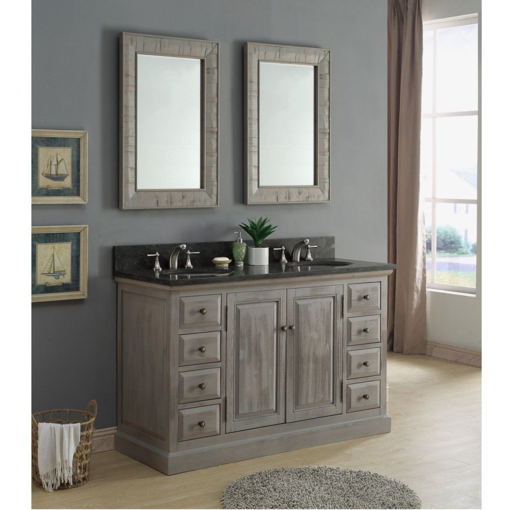 Infurniture Rustic 60 Inch Dark Limestone Double Sink Bathroom