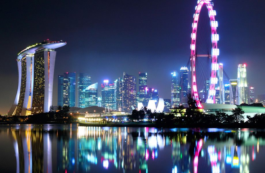 Singapore City Skyline At Night 4K Ultra HD Wallpaper