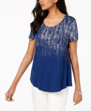 aa8b5d52a Jm Collection Printed Scoop-Neck Top