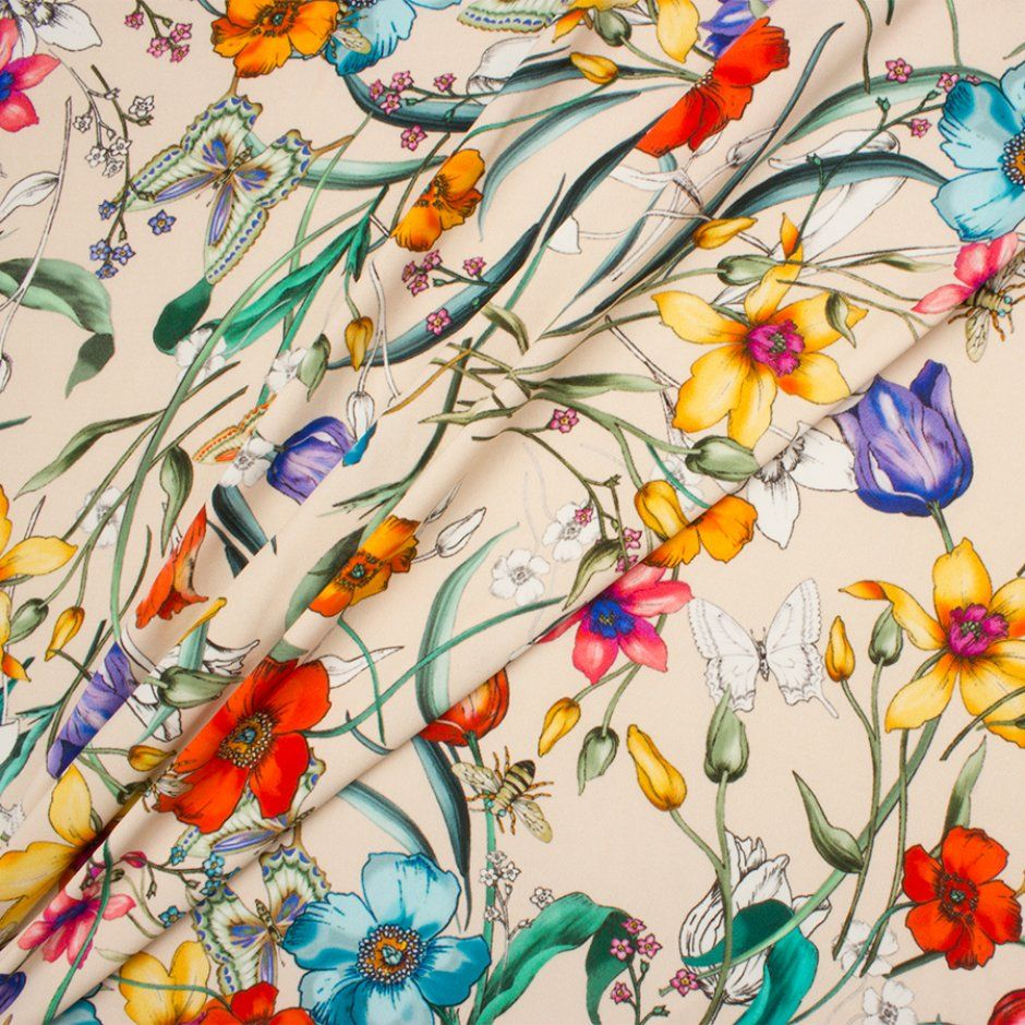 """Floral Printed White 42"""" Wide Dressmaking Cotton Craft Fabric By The Metre"""