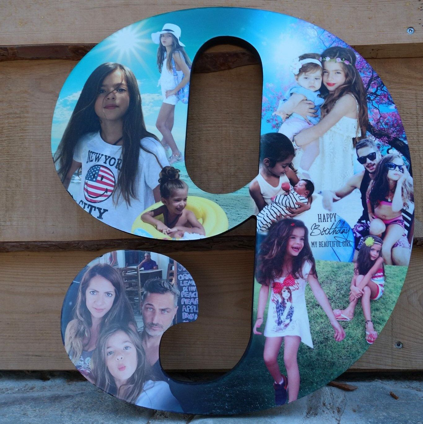 wooden number photo collage birthday photo gift