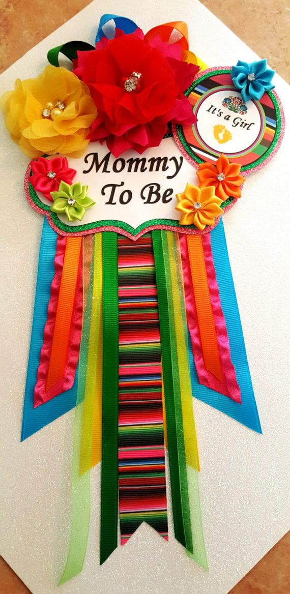 Fiesta Baby Girl Themed Mommy To Be Baby Shower Corsage Or Badge