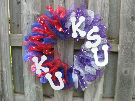 Check out the latest addition to my Etsy shop!  A House Divided KU KState Deco Mesh Wreath by BabesnBowsBoutique, $38.00