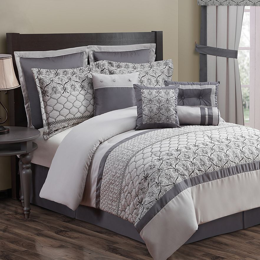 Luxury Bed Ensemble Monica 10 Pc Comforter Set Gray King New Free Shipping Cal King Bedding Kohls Bedding Sets King Size Comforters