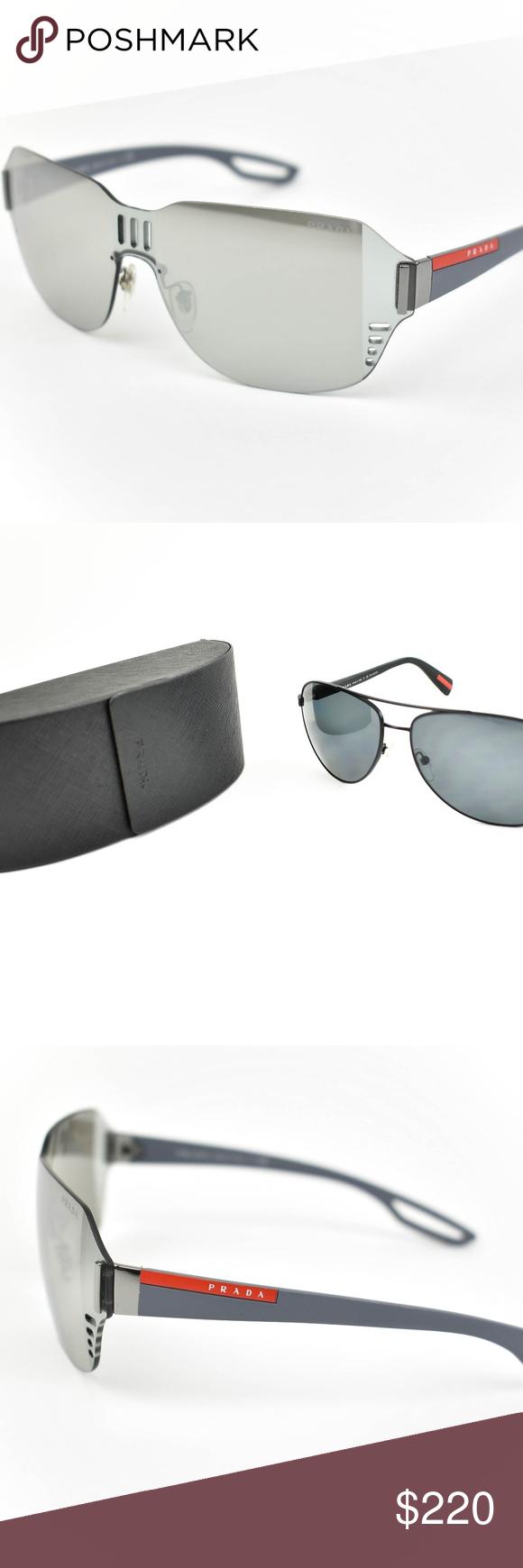 08219a5919a PRADA Gray Shield  amp  Logo Mirrored Sunglasses nq PRADA