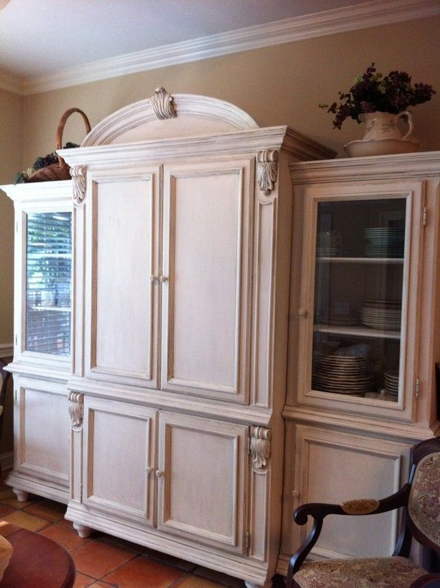 Old Entertainment Center That We Painted And Glazed For Dining Room China  Storage.