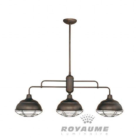 Luminaire suspendu linéaire triple en métal bronze avec grilles de protection amovibles idéal pour ilot cuisine ou salle a manger