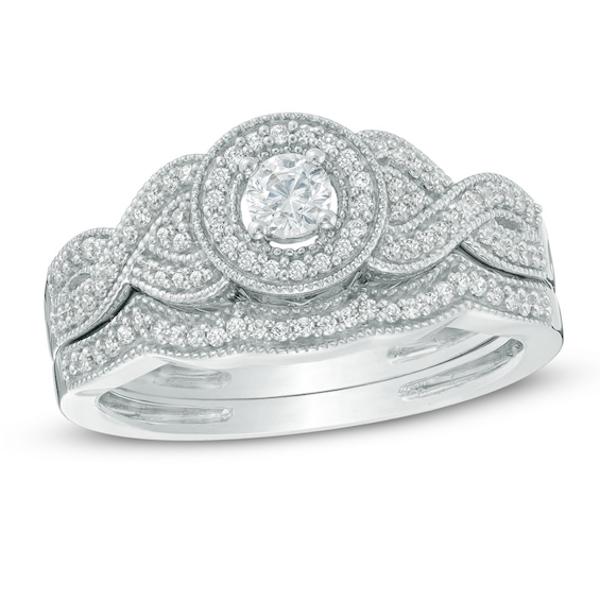 3/8 CT. T.w. Diamond Frame Braid Bridal Set In 10K White