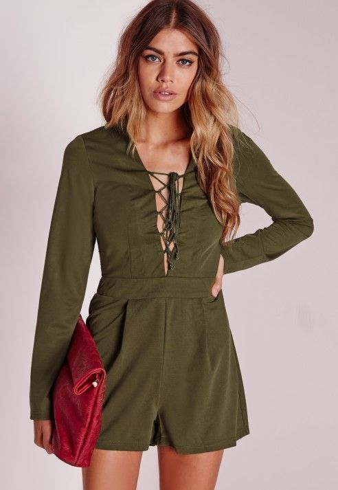 49325e63444 Long Sleeve Lace Up Front Playsuit Khaki - Playsuits - Missguided