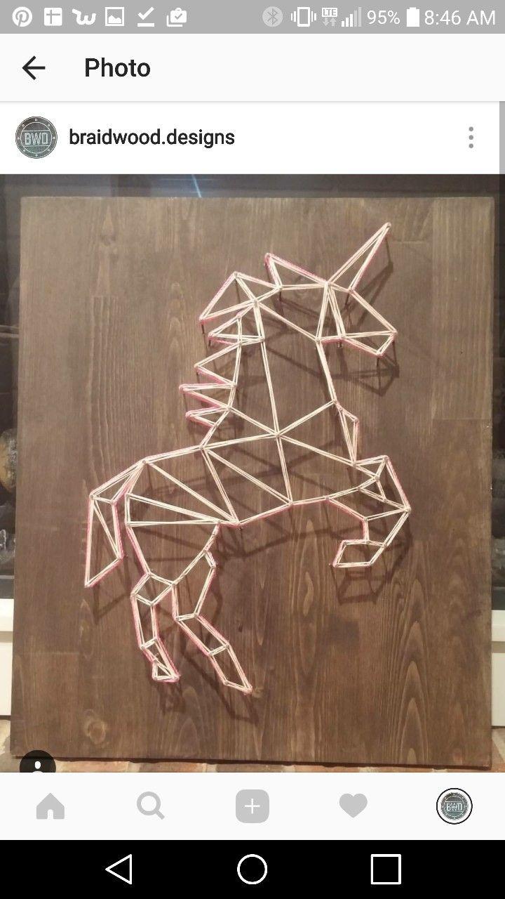 Geometric Unicorn String Art Braidwood Designs On