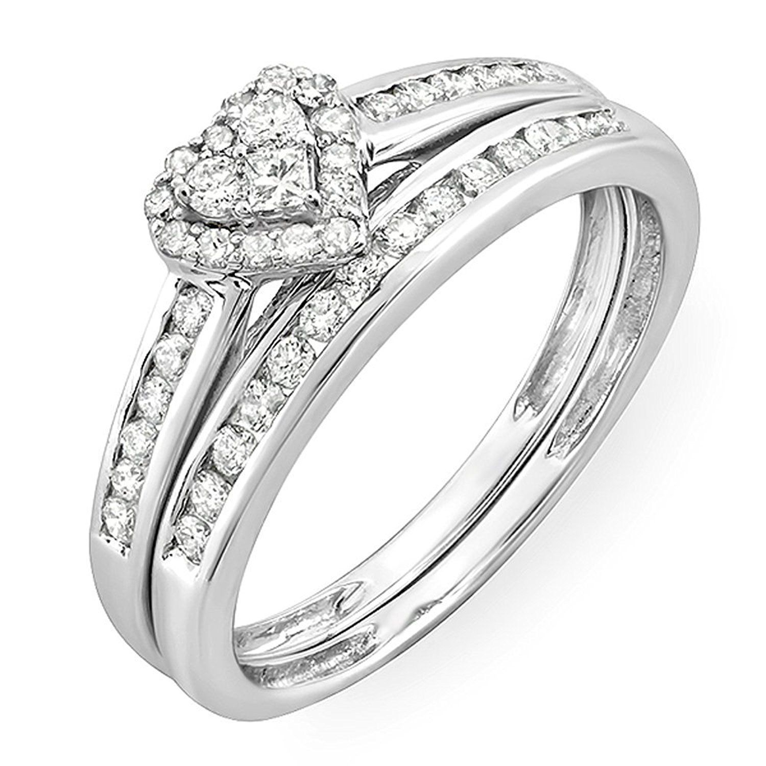 0 55 Carat ctw 10k White Gold Round and Princess Diamond Heart