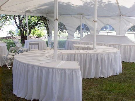 How To Set Up 10 Round Tables In Banquet Serpentine Tables Can Be Combined To Form Half Circles Circles And Buffet Table Decor Buffet Set Up Party Canopy