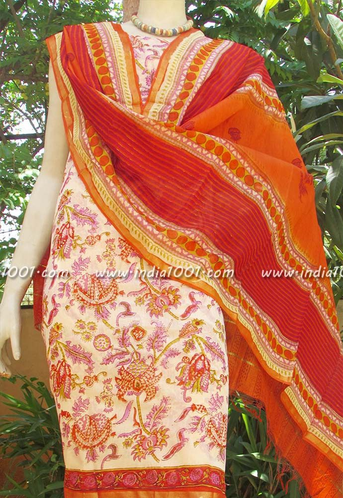 Elegant Chanderi & Cotton unstiched suit fabric | India1001.com