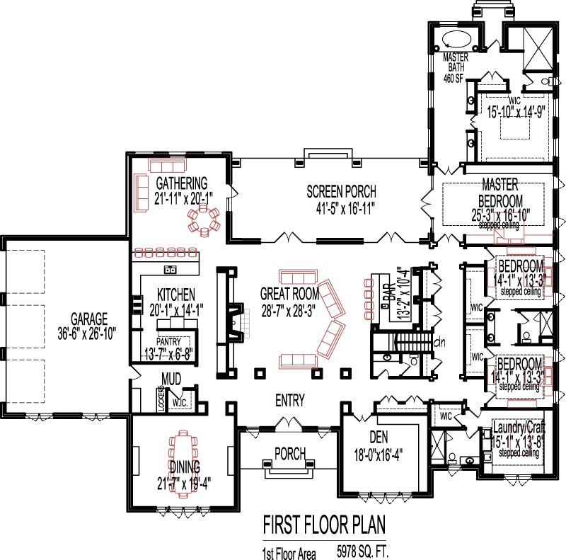 5 bedroom house plans open floor plan designs 6000 sq ft for Modern house plans 5000 square feet
