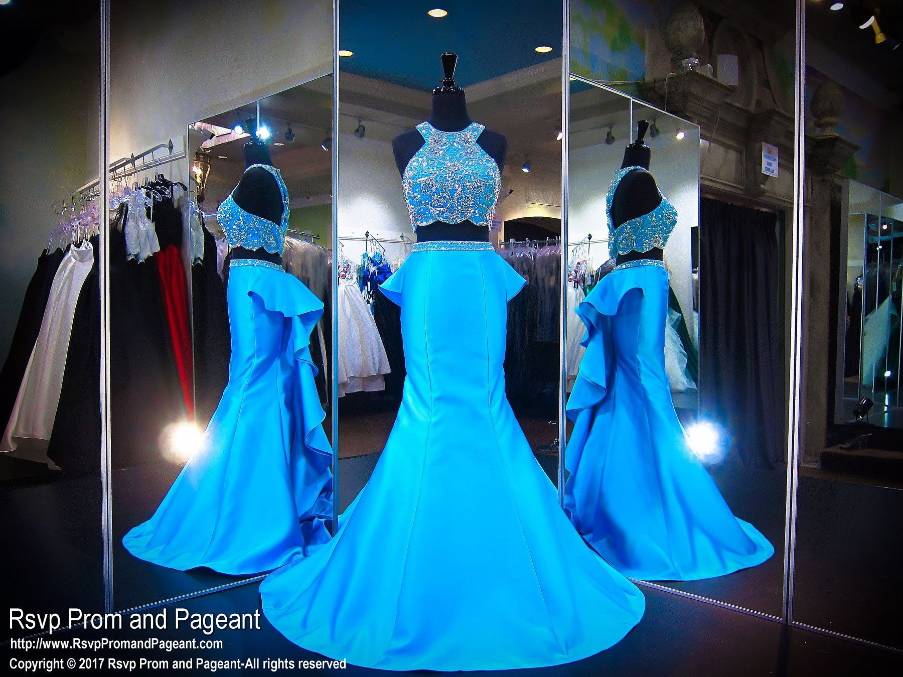 Ocean Blue Two Piece Mermaid Prom Dress | Prom and Pageant Dresses ...