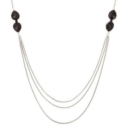Fashion Multi-Strand Necklace with Teardrop Stones - Silver/Black. Short, simple black necklace
