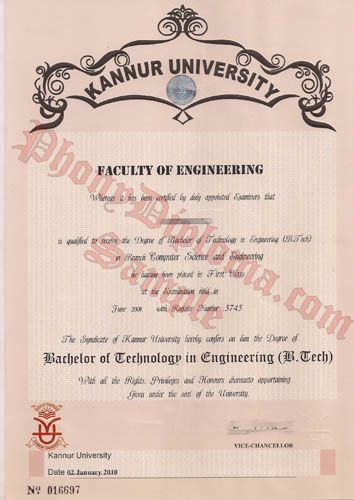 Kannur University India Fake Diploma Sample From Phonydiploma Http