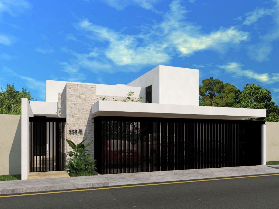 fachada de casa residencial de una planta de casa en