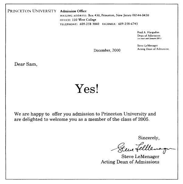 Edward Tufte forum Princeton University Acceptance Letter - offer acceptance letters