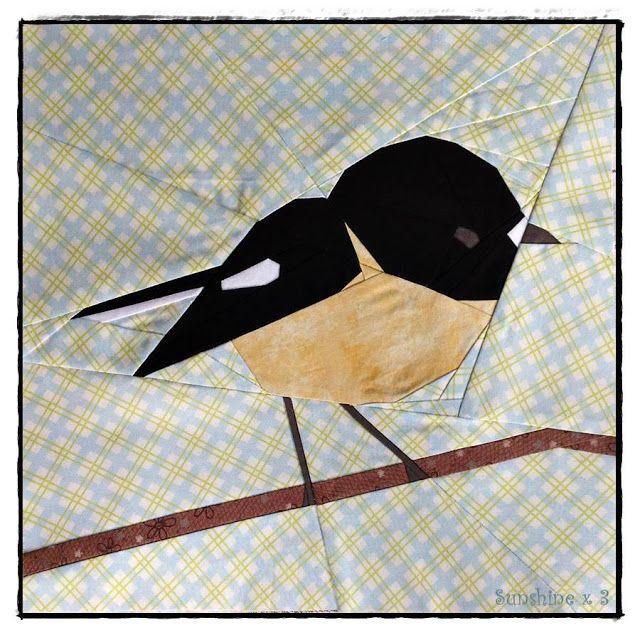 Tomtit bird by Sunshine x 3. Pattern by Tartan Kiwi   QUILT IDEEEN ...