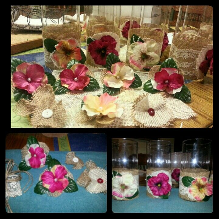 Party centerpieces and decorations -burlap, lace and flowers