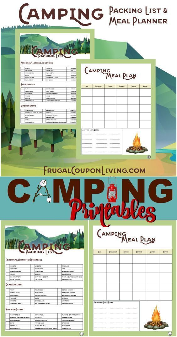 Camping Printables – Packing List and Meal Planner for camping needs. FREE  printable on Frugal