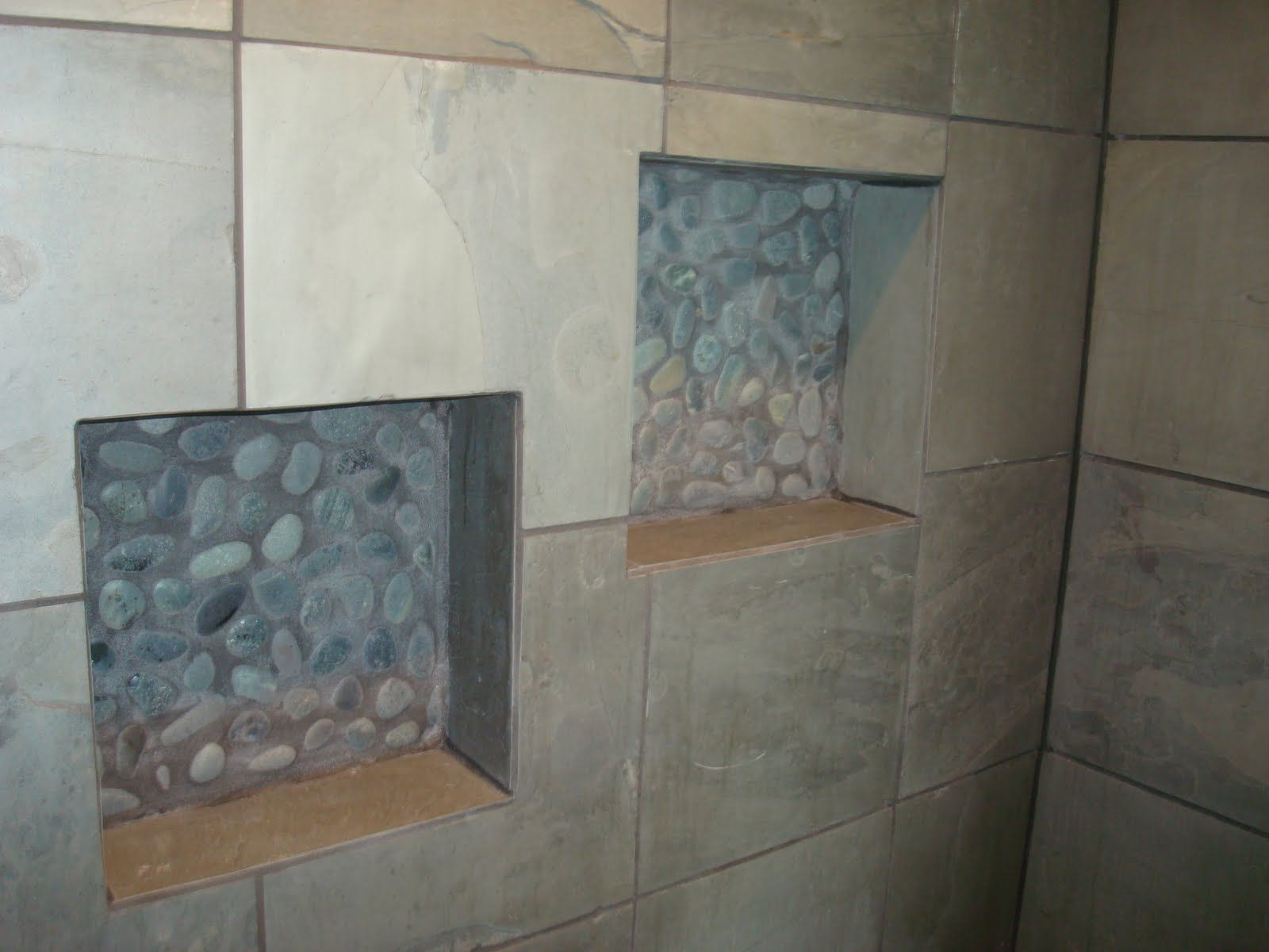 Slate Bathroom Set Straight Tile River Rock Shower