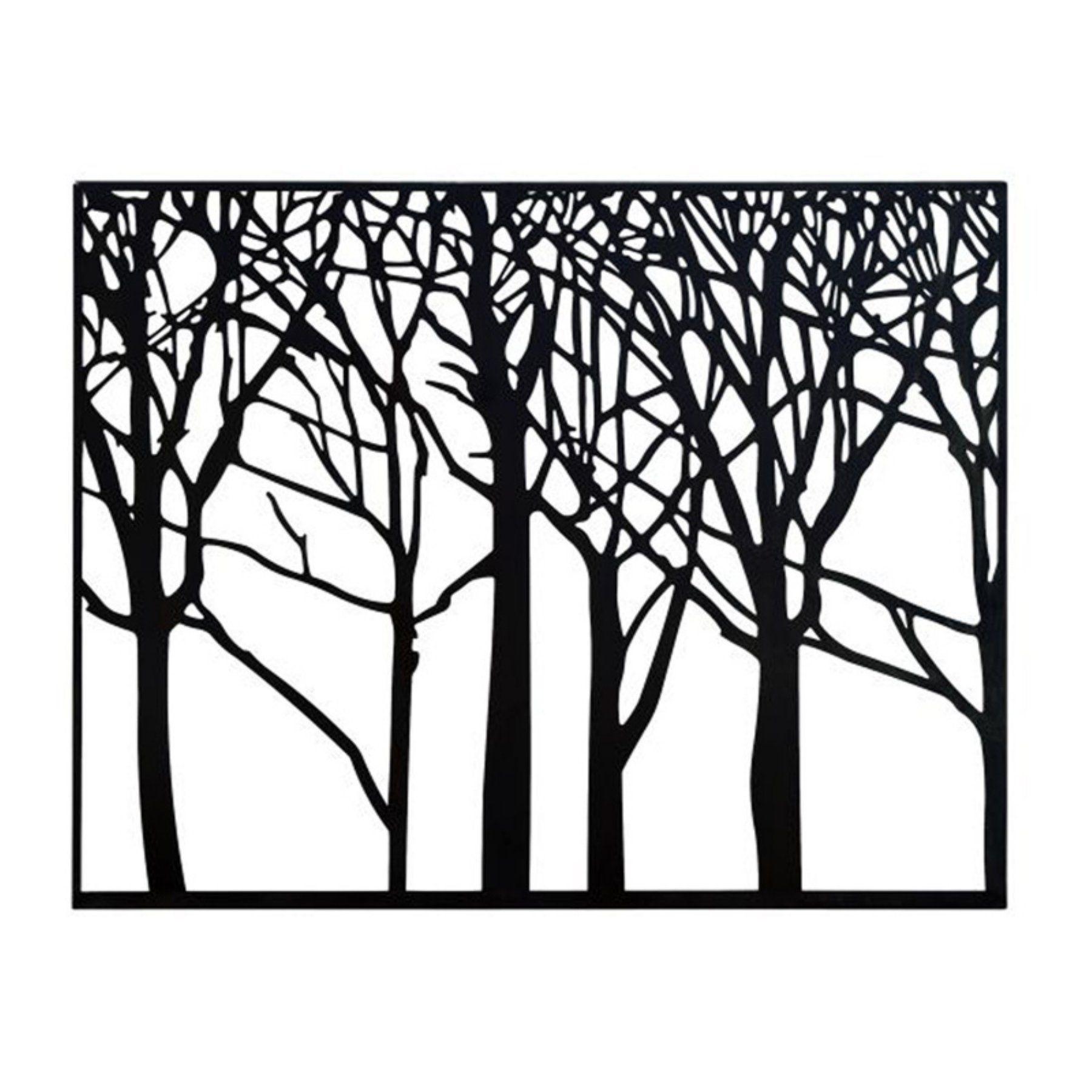 Decmode framed black metal tree silhouette wall art w x h in
