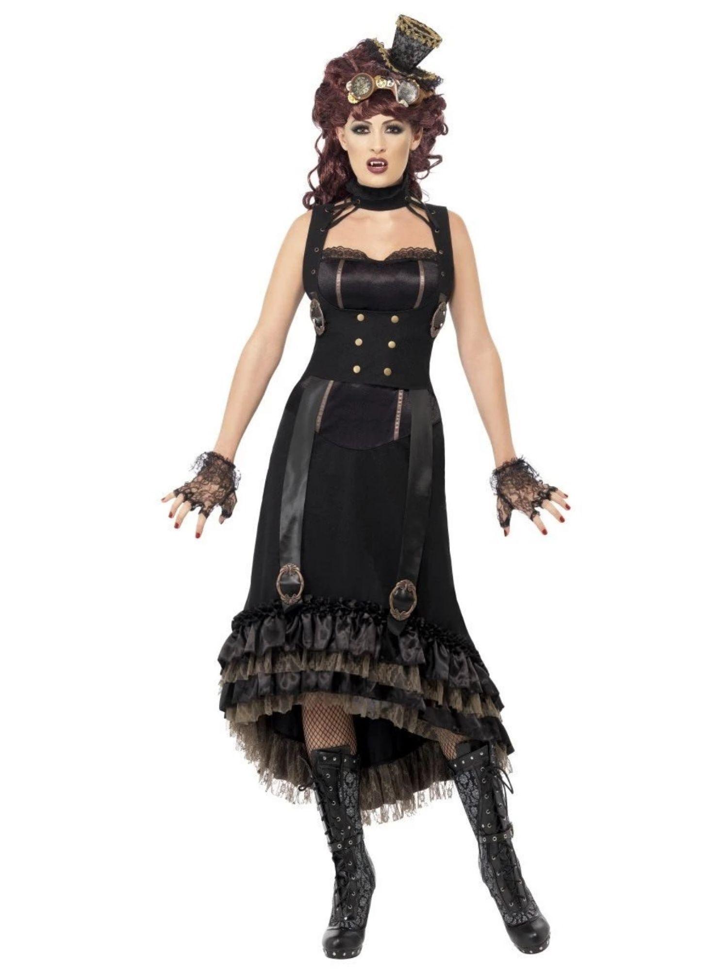 "49"" Black Steam Punk Vampire Women Adult Halloween Costume"