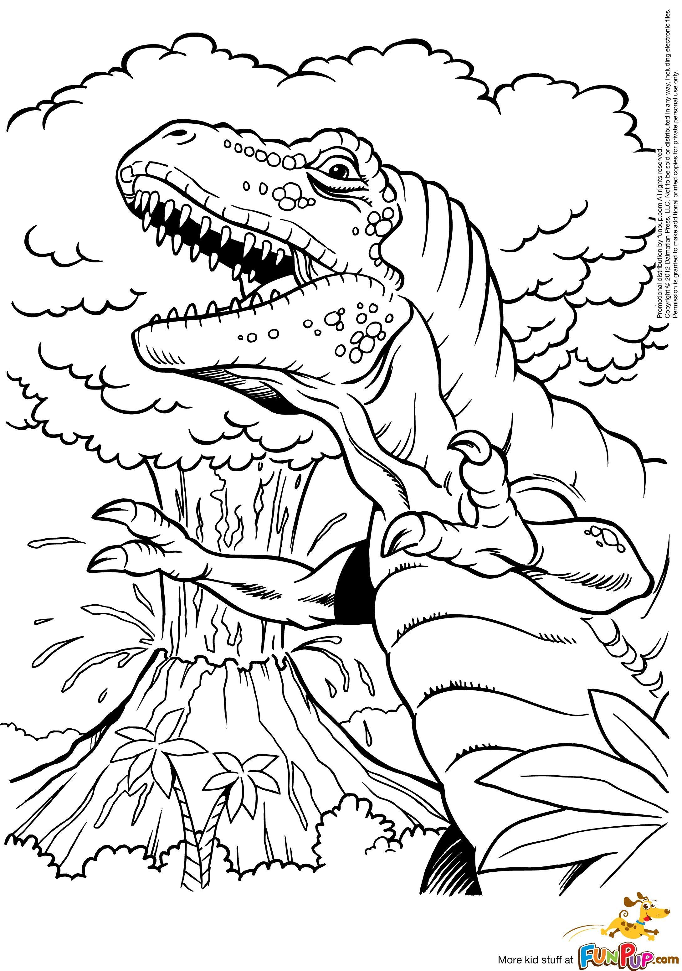 T Rex And Volcano 0 00 Coloriage Volcan T Rex Et Coloriage