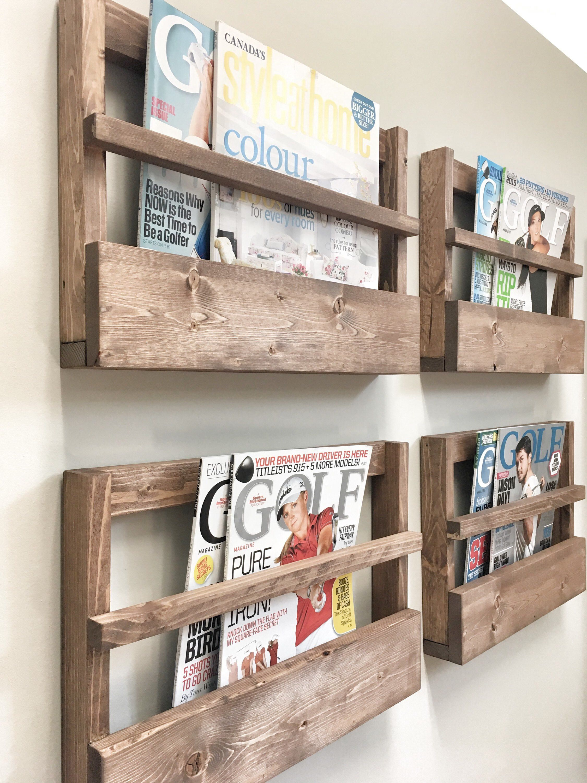 Rustic Wood Magazine Holder Magazine Storage Rack Wall Etsy Wood Magazine Easy Home Decor Rustic Furniture