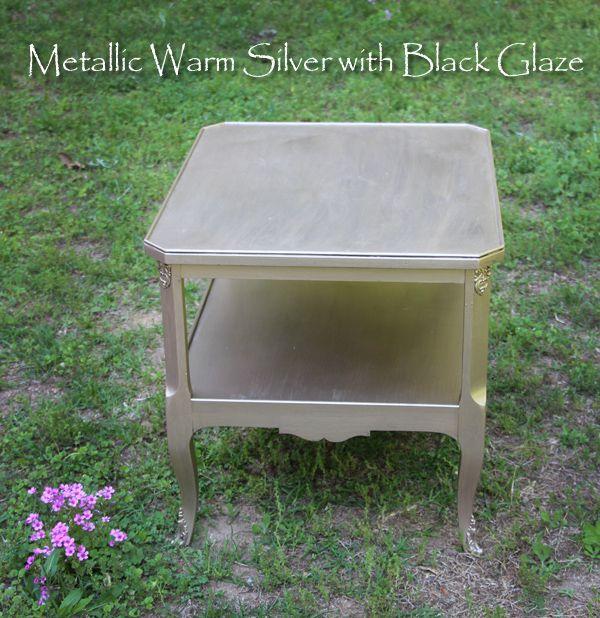 Smoky Pearl Furniture Painting Technique Captiva: Metallic Warm Silver With Black Glaze Finish