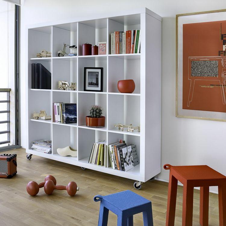 Wohnzimmer Regale auf Rollen aus Holz weiß Stauraum Möbel - wohnzimmer weis holz