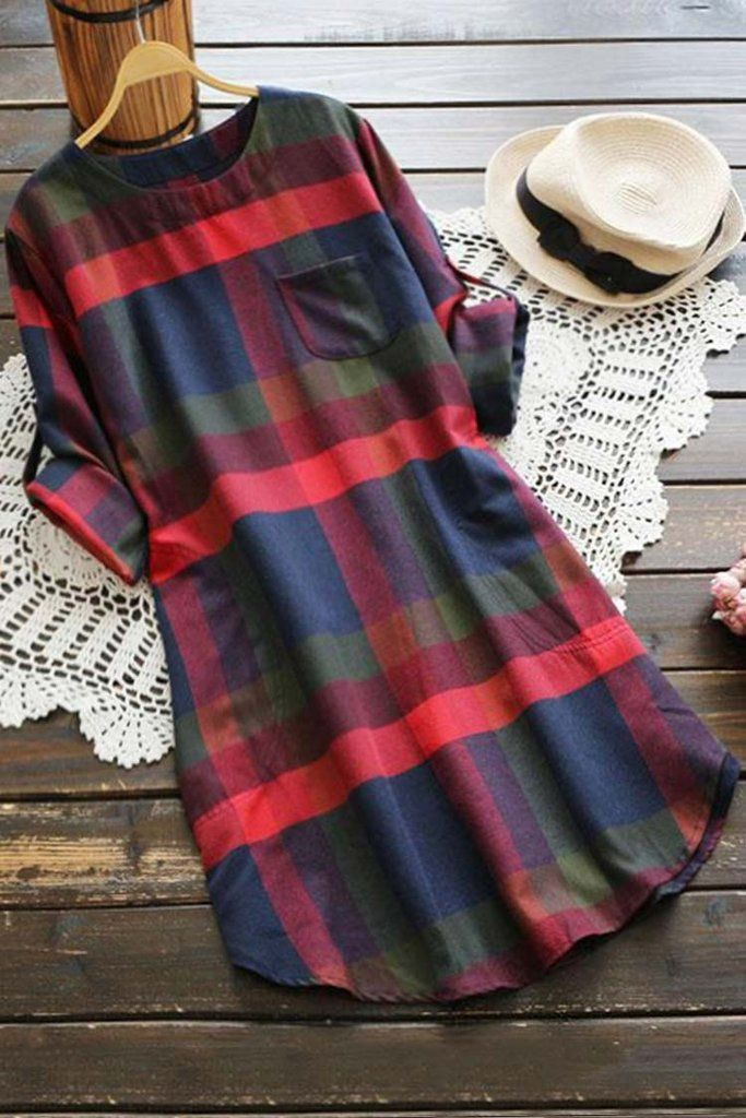 Red and blue plaid dress with black lace sleeves