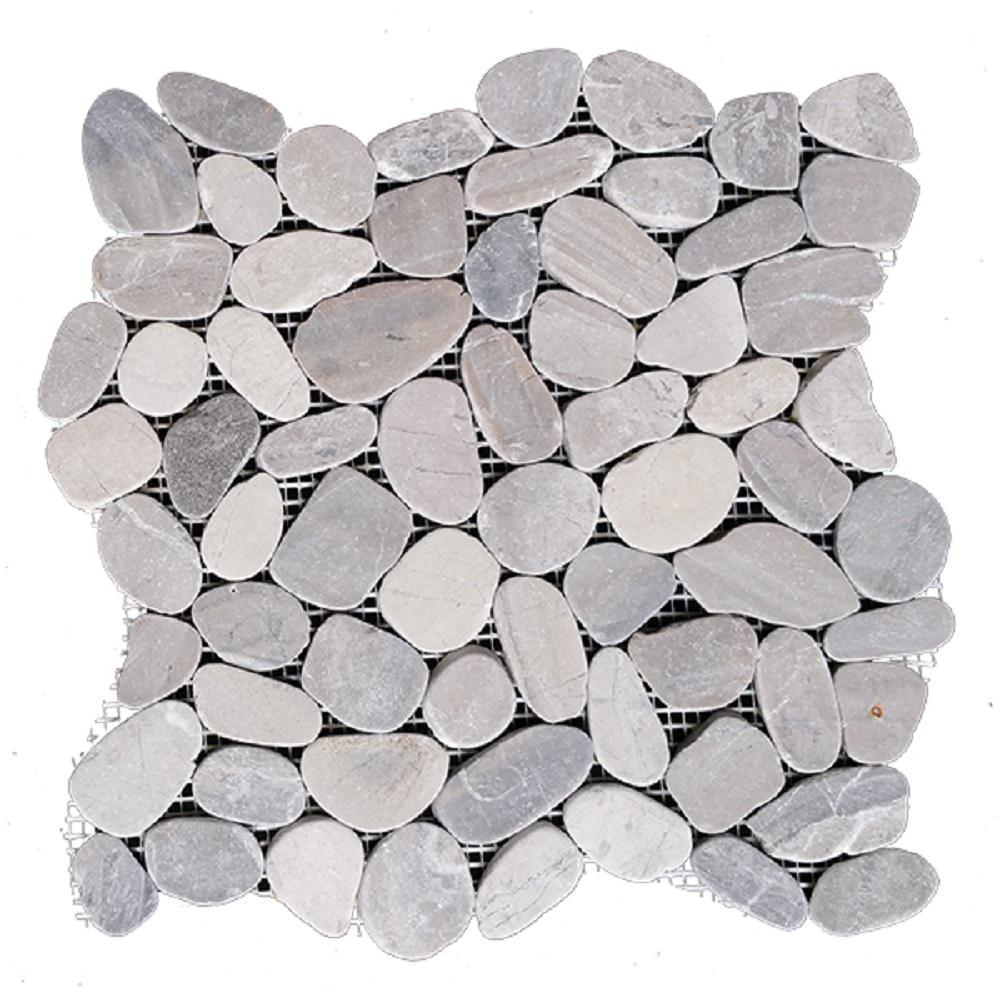 Rain Forest 12 In X 12 In Light Grey Honed Sliced Pebble Floor And Wall Tile 5 0 Sq Ft Case Pts Hnlgy The Pebble Tile Pebble Floor Natural Stone Tile