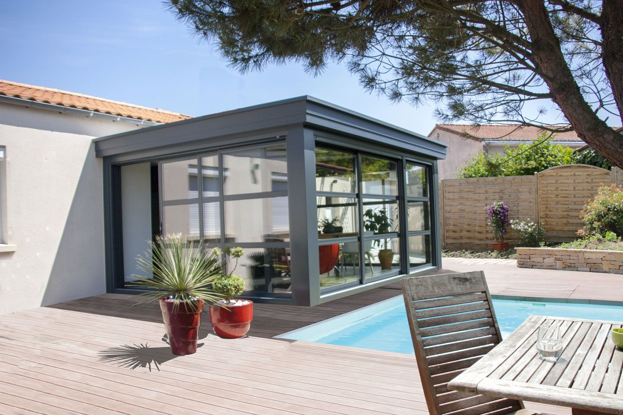 Véranda Concept Alu gamme HOMEA - extérieur avec terrasse et piscine (met afbeeldingen)