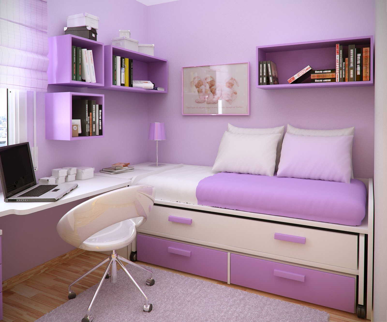 Apartment bedroom for girls - Chic Girls Purple Bedrooms Furnishing Design With Floating Booksheleves Over Sleeper Couch Storage In Small Space